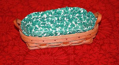 Longaberger 1993 Cracker Basket with Insert and Fabric Leather Handles