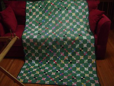 Vintage Hand-Pieced Twin Size Quilt, Circles, not quilted