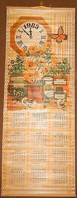 Large Vintage 1983 Wooden Scroll Wall Calendar*flowers*butterfly*spices*nice Art
