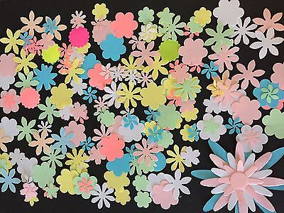 200 pastel die cut flowers, for scrapbooking, card making, decorating crafts