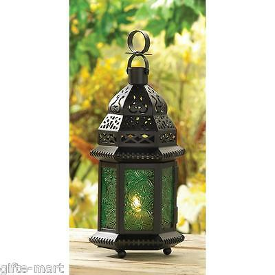 "GREEN Moroccan Candle holder 10"" Lantern Lamp light terrace outdoor garden patio"