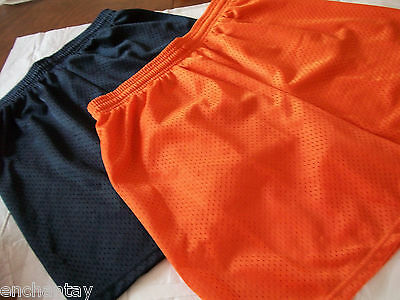 2 Pair BADGER Sports Boys Girls Athletic Shorts Size L Youth Orange & Navy  Poly