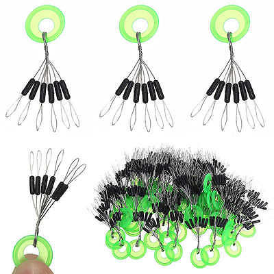 100pcs Float Stopper Fishing Tackle Rubber Bobber Line Stopper Sinker Accessory