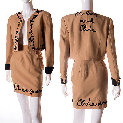 Vintage Moschino Cheap and Chic Cropped Logo Jacket and Skirt Suit