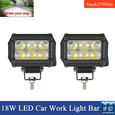 2x 18W LED Flood Work Light Bar Lamp Worklight Offroad Tractor Boat UTE SUV 4WD