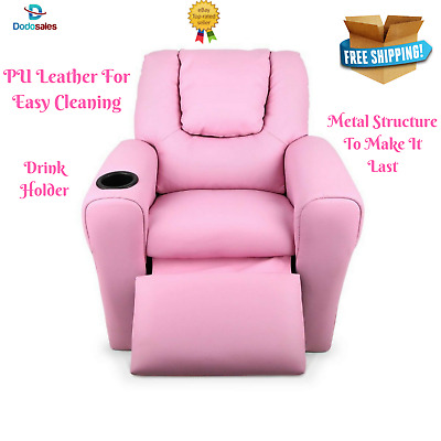 NEW Pink Child Armchair Recliner Chair Kid Girl Drink Holder Bedroom Toddle Gift