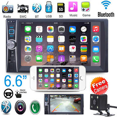 "2 DIN 6.6"" HD In Dash Car Touch Screen Bluetooth Stereo MP3 MP5 Player + Camera"