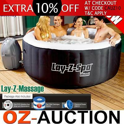 Bestway Indoor Outdoor Portable 4 Person Inflatable Massage Lay Z Spa Bath Pool