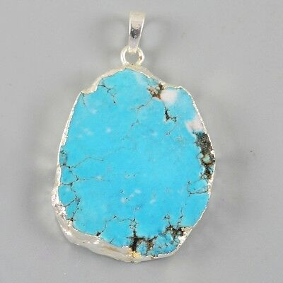 Blue Howlite Turquoise Pendant Bead Silver Plated B025719