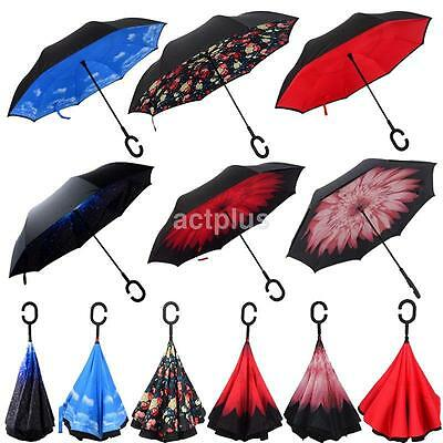 Windproof Reverse Double Layer Inverted Umbrella Self Stand Inside Out Umbrella