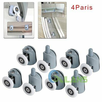 4Pair Single Shower Glass Door Guide Enclosures Rollers Runner Wheel Pulley 25mm