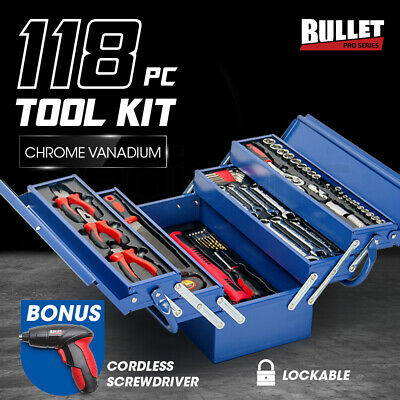 BULLET 118pc Tool Box Kit Set - Cantilever Metal Drill Sockets Wrench Spanners