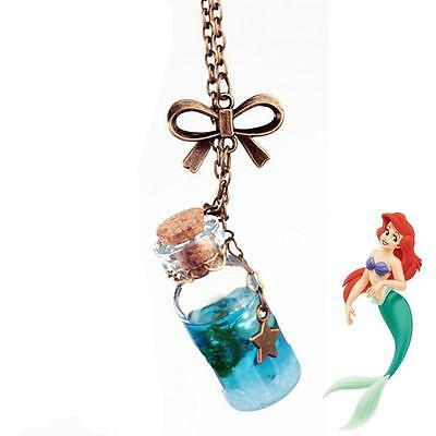 Little Mermaid Wish Necklace Ariel Inspired Bottle Charm Chain Necklaces Pendant