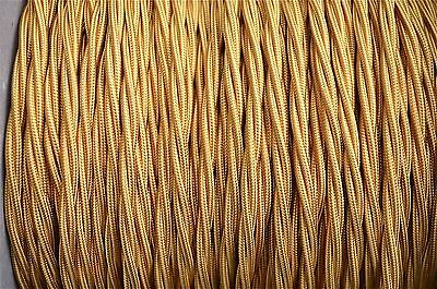 1 meter Celtic gold 3 core hanging light flex wire braided twisted MADE IN UK T7