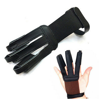 Black Three 3 Finger Archery Glove For Longbow Hunting Hand Guard Protector