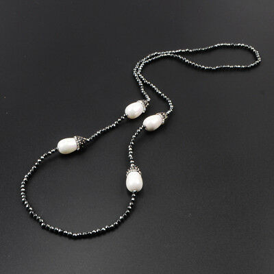 "3Pcs 25"" Drop White Shell Pearl Paved CZ Necklace With Black Beads Chain BJA391"