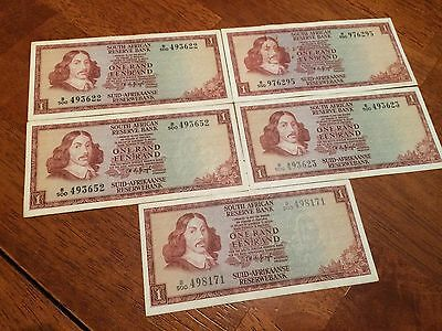 Lot Of 5 Pcs South Africa 1 Rand ( 1967- 1975) Circulated Banknotes