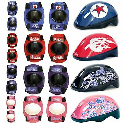 New Sk8 Zone Childrens Helmet Elbow Knee Pads Bmx Bike Scooter Skate Pads Set