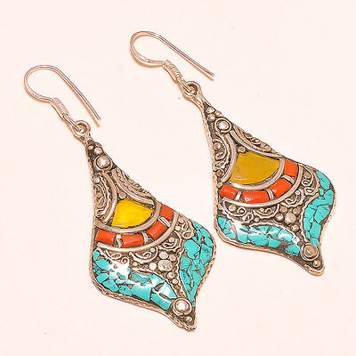 Sparkling Turquoise With Red Coral Nepali .925 Silver Jewelry Earring