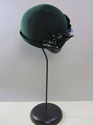 Forest Green felt wool hat cap thirties forest green sequin and pearl trim