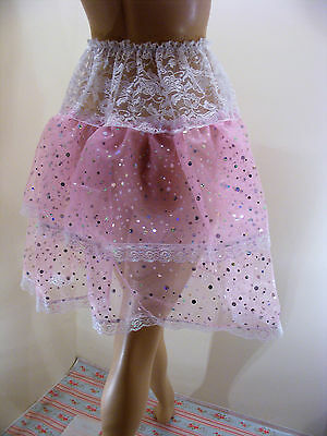 "Sissy Prissy Pink Sequin  Lace  Slip Petticoat Skirt Waist 38""-60"" Length 21"""