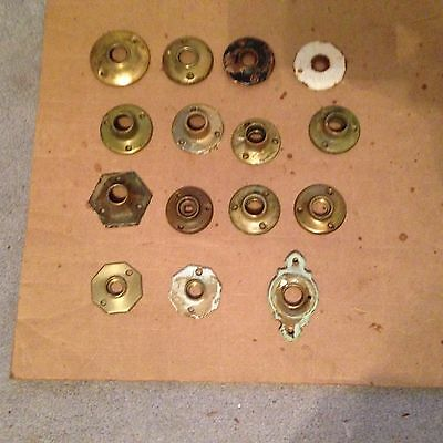 LOT OF 15 vintage door knob back plate round, MOST Round Rosettes