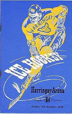 VINTAGE ICE HOCKEY PROGRAMME, RACERS v WEMBLEY, HARRINGAY ARENA, 1949