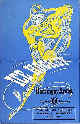 VINTAGE ICE HOCKEY PROGRAMME, RACERS v WEMBLEY, HARRINGAY ARENA, 1955