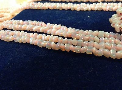 Antique Vintage Italy Venetian Murano Pink Opalescent Bead Double Necklace