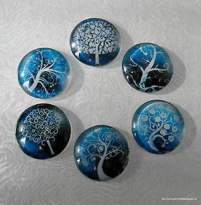 6 mixed blue and white tree design glass cabochons flat backs - 25mm round