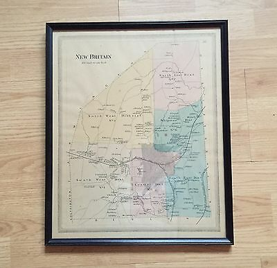 Vintage Framed Color Map of New Britain, Connecticut
