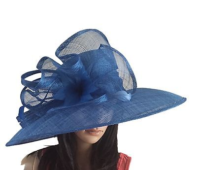 Ladies Cobalt Blue  Wedding Hat Formal Occasion Mother Of The Bride