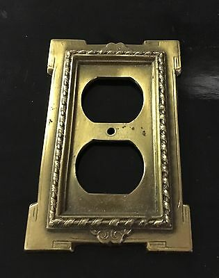 """Vintage - Heavy / Solid Brass / Ornate Outlet Cover Plate """"Art Deco"""""""