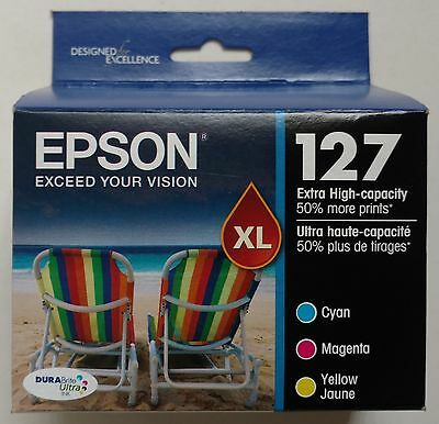 GENUINE Epson 127 (T127520)  3-PACK Extra High Capacity Color Ink Cartridges NEW
