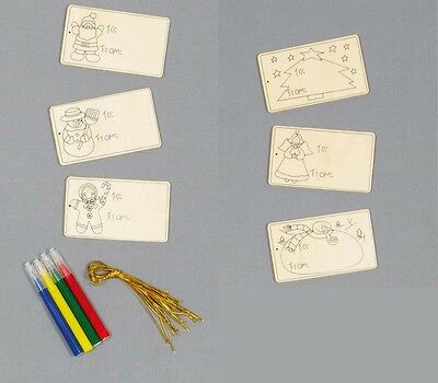 Christmas Gift Tags  - Colour Your Own Activity Set - 6 Tags per Pack