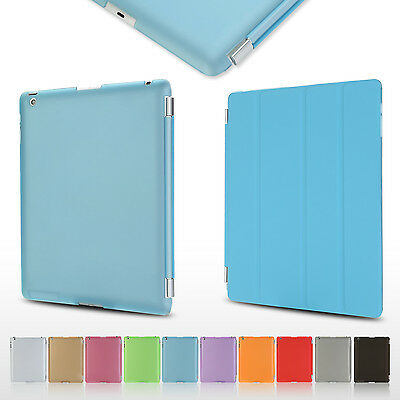 Blue Magnetic Hold Sleep Wake Flip Cover Hard Back Case for Apple iPad 2 3 4