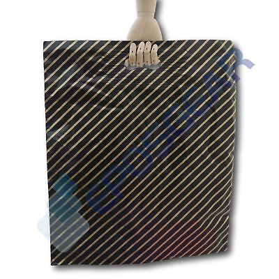 """100 15"""" x 18"""" x 3"""" Black & Gold Striped Strong Patch Handle Plastic Carrier Bags"""