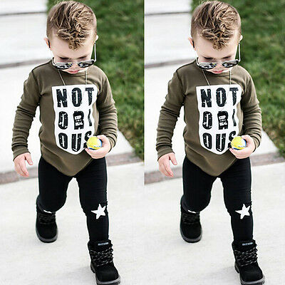 UK STOCK Kid Newborn Outfit Set Infant Baby Boys Clothes T Shirt Top+Long Pants