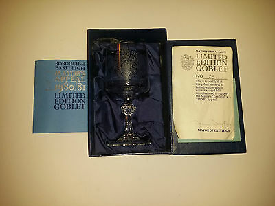 Engraved Rivington Crystal Limited Edition Goblet, Mayor's Appeal 1980/81