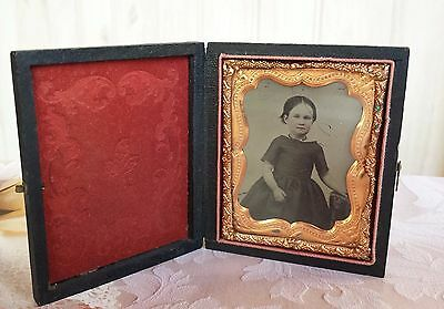 Antique Ambrotype Ambro Photo of Young Girl in Case