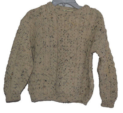Carraig Donn Aran Cable Fisherman Girls Boys Wool Sweater Flecked Size L Large
