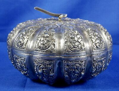 Antique Paung 900 Silver Lidded Box Bowl Ornate Scrolling Leaves Repousse Rare