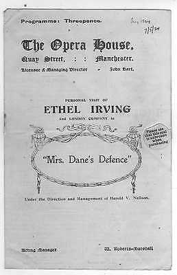 "Manchester Opera House - 1924 Programme - ""Mrs.Dane's defence"""