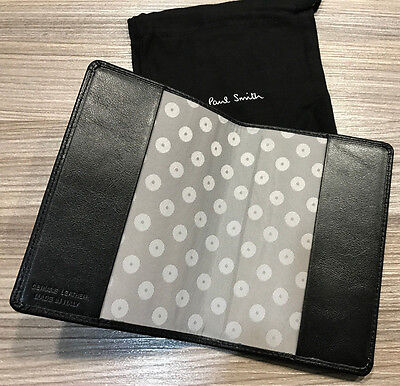 Paul Smith Passport Holder Black Leather Made in Italy