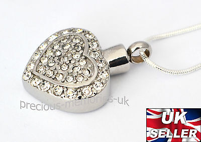 Diamante Heart Ashes Necklace - Cremation Jewellery -  Memorial Ash Urn Pendant
