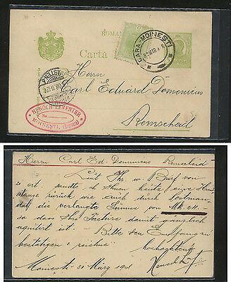 Romania  nice uprated green postal card with green stamp  1908         MS0722