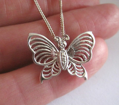 Solid 925 Sterling Silver Butterfly Pendant And Chain.