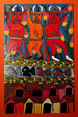Authentic Mexican Folk Art Retablo Tres Diablos/ Three Devils by Lucas Lorenzo