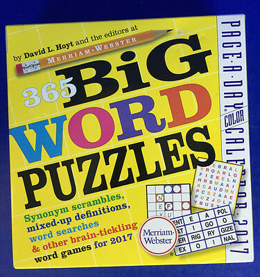 2017 Page-A-Day Boxed Desk Calendar Big Word Puzzles Searches Definitions Games