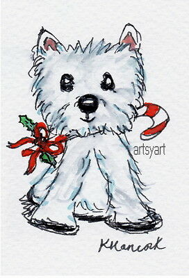 aceo ORIGINAL westie dog christmas candy stick holly Watercolour painting
